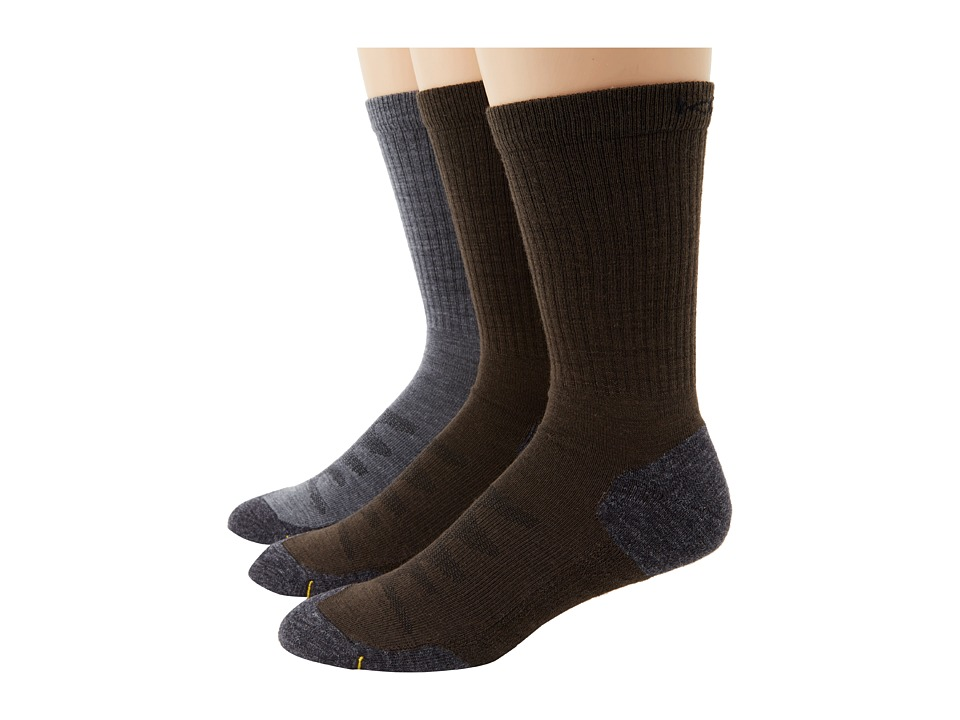 Keen - Olympus Lite Crew 3-Pack Assorted (2 X Slate Black/1 X Gray) Men's Crew Cut Socks Shoes