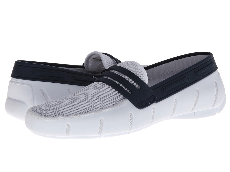 Robert Wayne - Yacht (White/Navy) Men's Slip on Shoes
