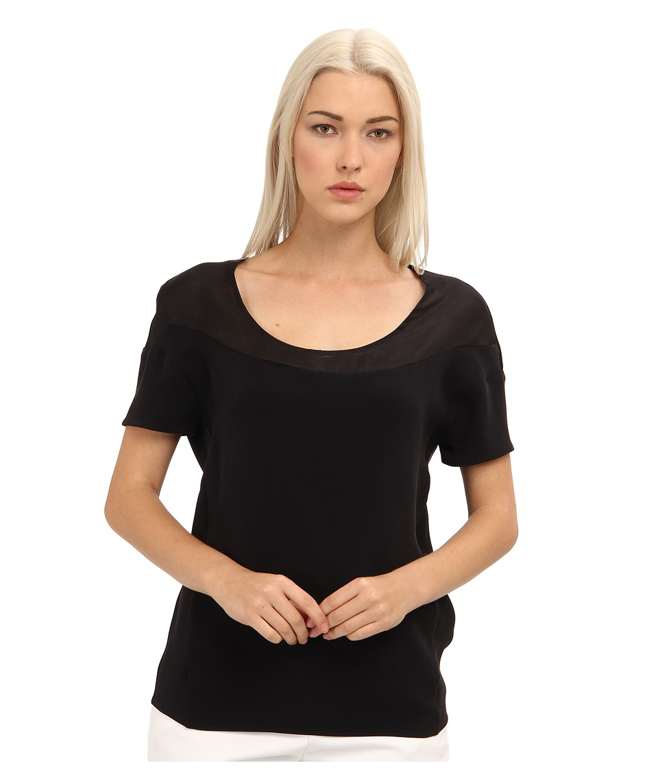 CoSTUME NATIONAL - CW0169P Top (Nero) Women's Short Sleeve Pullover