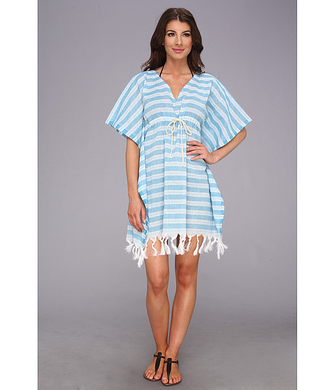 Hat Attack - Stripe Cover-Up with Fringe (Turquoise) Women's Swimwear