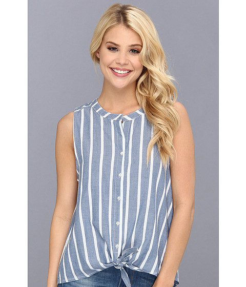 C&C California - Wide Stripe Chambray Tie Front Shirt (Chambray Multi) Women