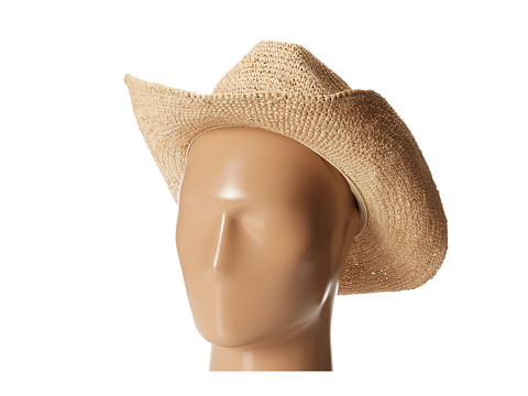 Hat Attack - Raffia Crochet Continental (Natural/Pink Sueded Strands) Traditional Hats