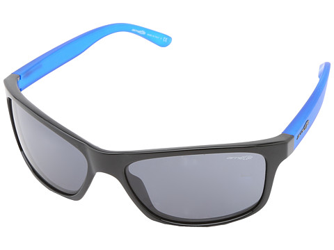 Arnette - Pipe (Gloss Black/Gum Blue/Grey) Sport Sunglasses