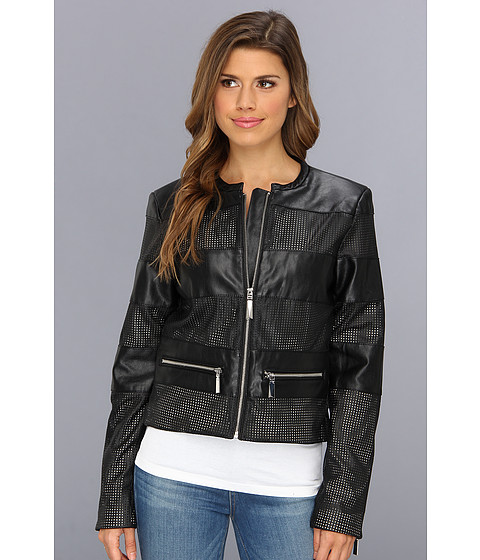 Vince Camuto - Collarless Perforated Stripe Faux Leather Jacket F8391 (Black) Women