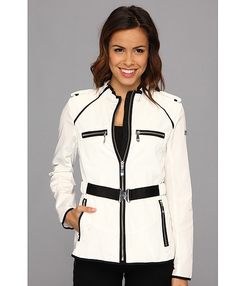 Vince Camuto - Grosgrain Trim Zip Jacket (Off White) Women's Coat
