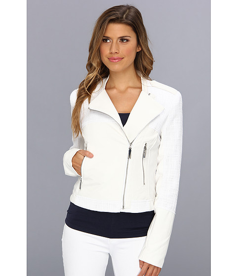 Vince Camuto - Faux Leather Tweed Moto Jacket F8131 (Off White) Women's Coat