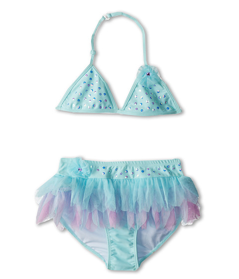 Kate Mack - Love Birds Swim Bikini Skirted (Big Kids) (Aqua Blue) Girl's Swimwear Sets