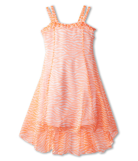 Kate Mack - Tahitian Sunset Dress Hi Low (Big Kids) (Coral) Girl