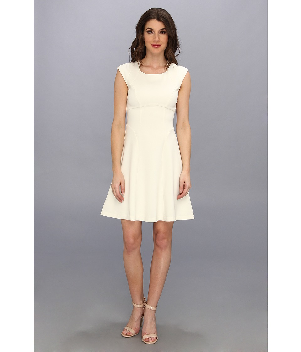 Ivy & Blu Maggy Boutique - Square Neck Solid Fit Flare Dress (Cream) Women's Dress