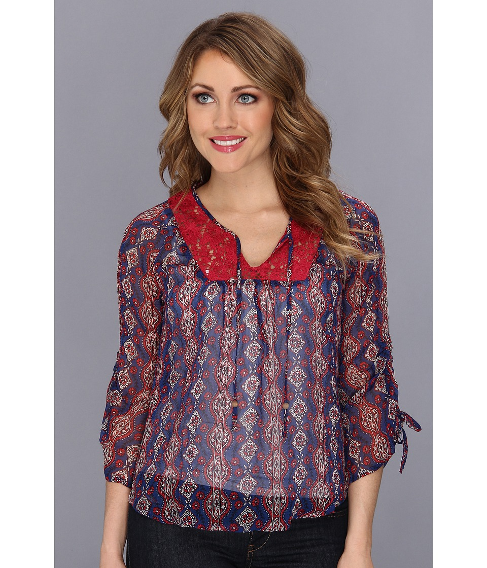 Lucky Brand - Laguna Mix Lace Top (Blue Multi) Women