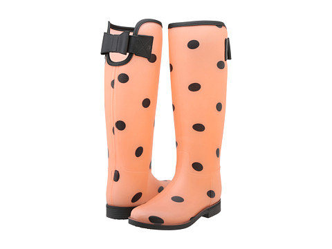 Dirty Laundry - Royal (Orange/Black Polka Dots) Women's Rain Boots