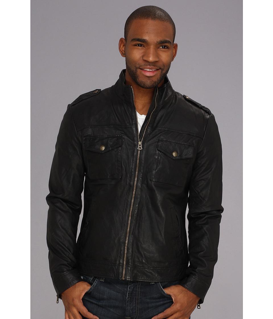Lucky Brand Scrambler Moto Jacket Mens Coat (Black)