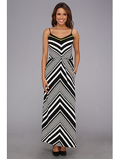 SALE! $66.99 - Save $81 on Vince Camuto Chevron Blouson Maxi Dress (Black White) Apparel - 54.74% OFF $148.00