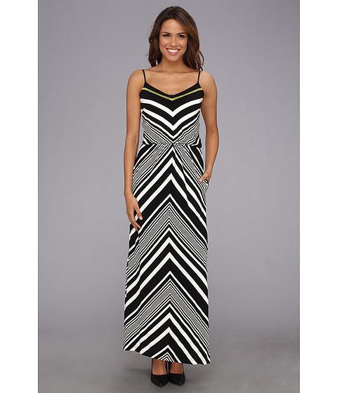Vince Camuto - Chevron Blouson Maxi Dress (Black/White) Women