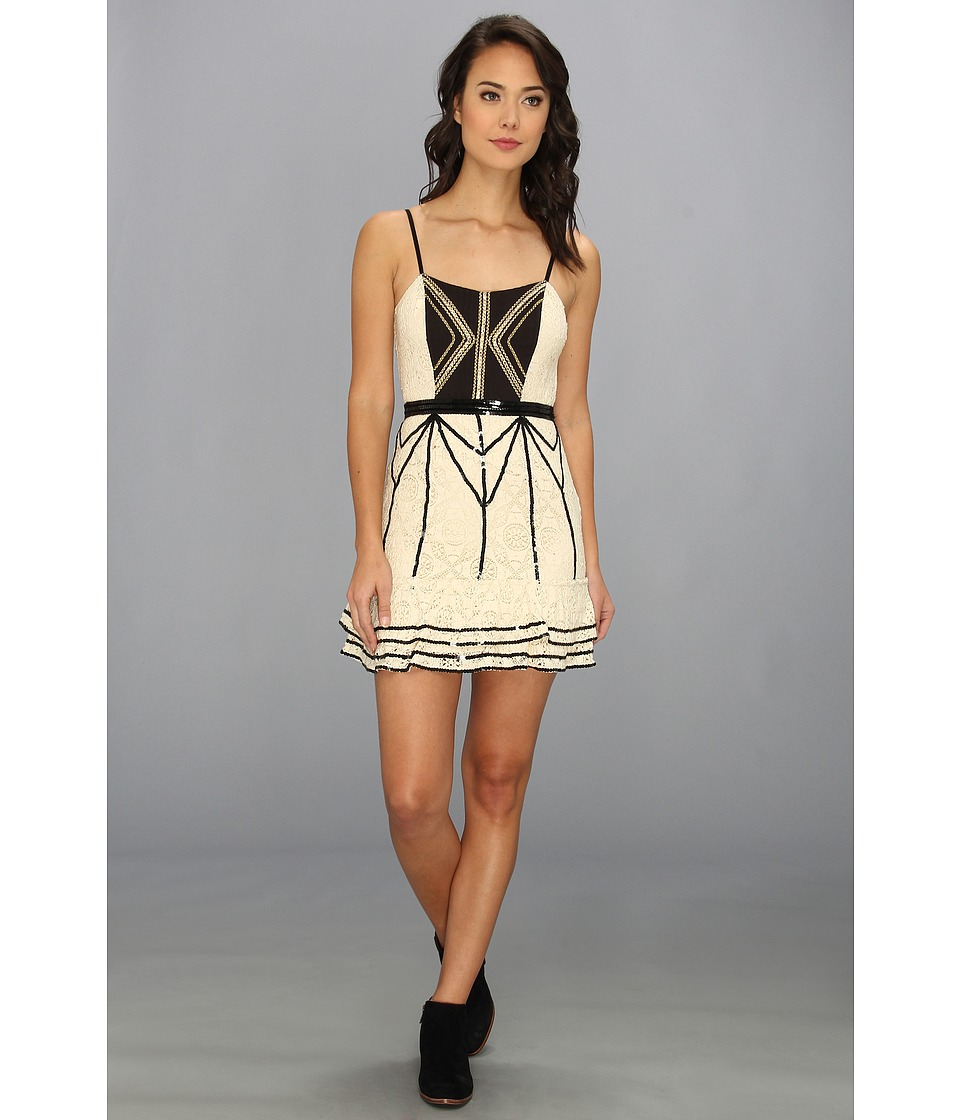 Free People - Lace Coquette Mini Dress (Black/Tea) Women