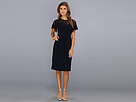 Adrianna Papell Flutter Sleeve Banded Sheath (Navy) Women's Dress