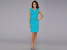 Adrianna Papell Side Pleated Slit Neck Sheath (Bright Aqua)