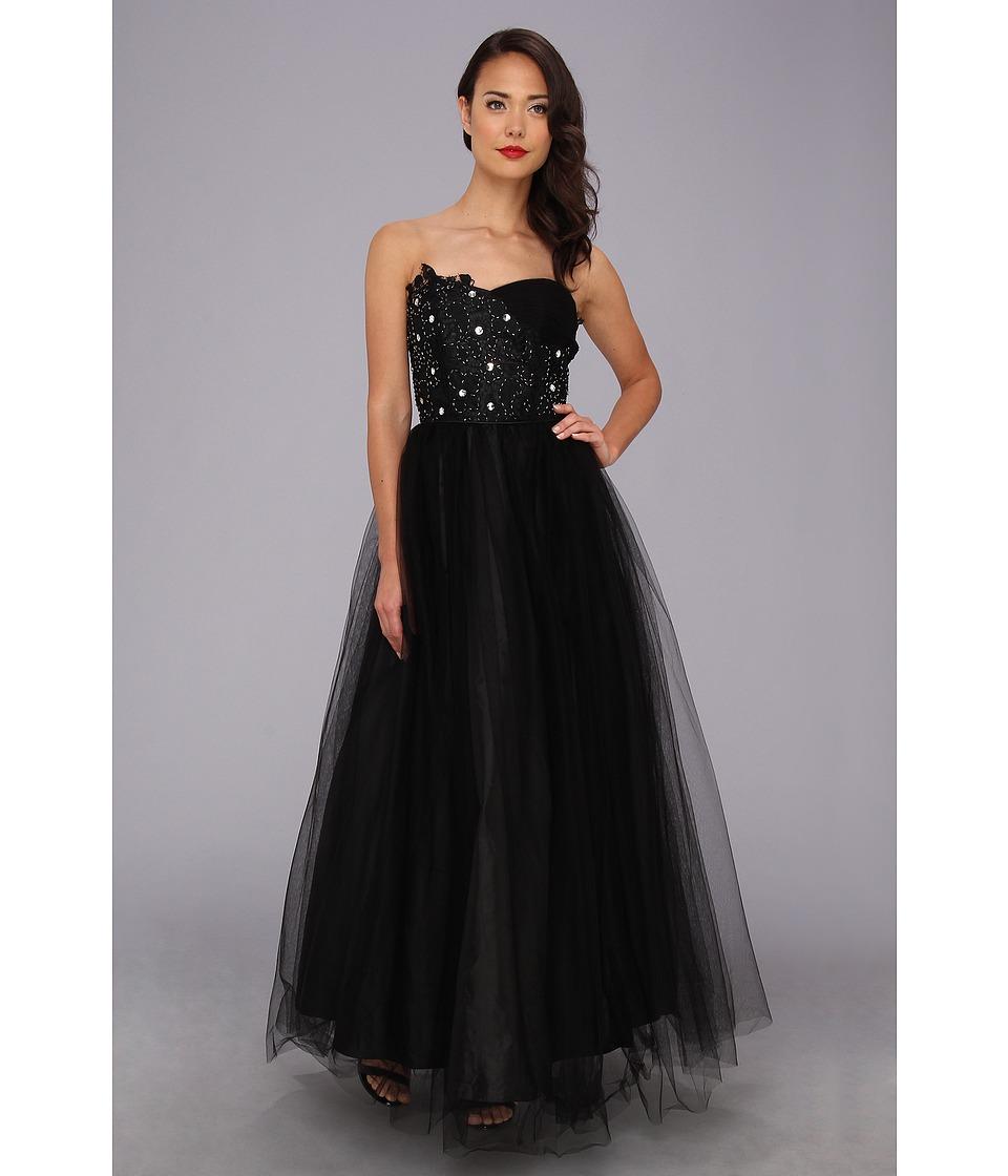 Unique Vintage Tulle Strapless Gown Womens Dress (Black)