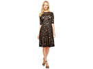 Adrianna Papell 3/4 Sleeve All Over Lace Dress (Black/Nude)