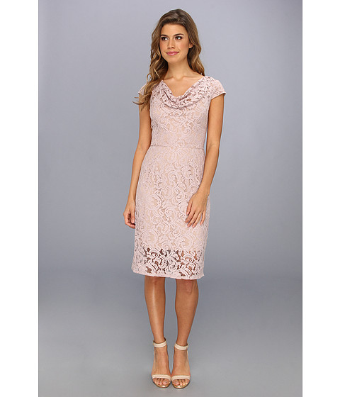 Adrianna Papell - Illusion Skirt Lace Dress (Putty) Women's Dress