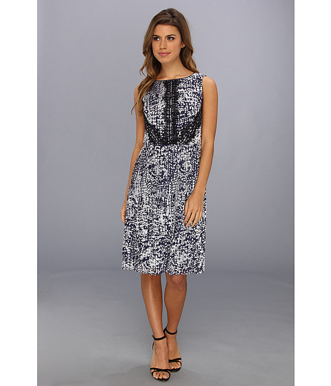 Adrianna Papell - Sleeveless Pleated Burnout (Navy/Silver) Women's Dress