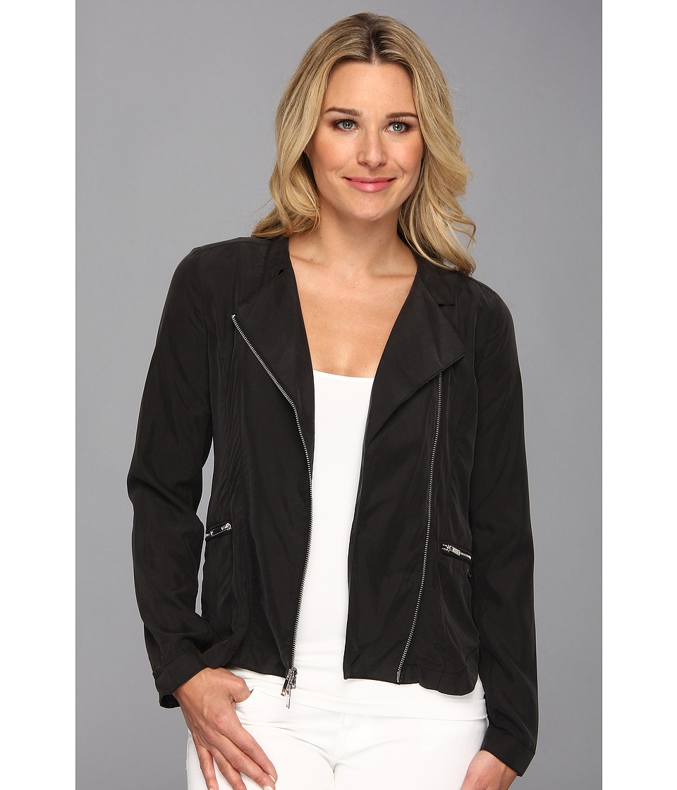 Calvin Klein Jeans - Sandwashed Poly Biker (Black) Women's Coat