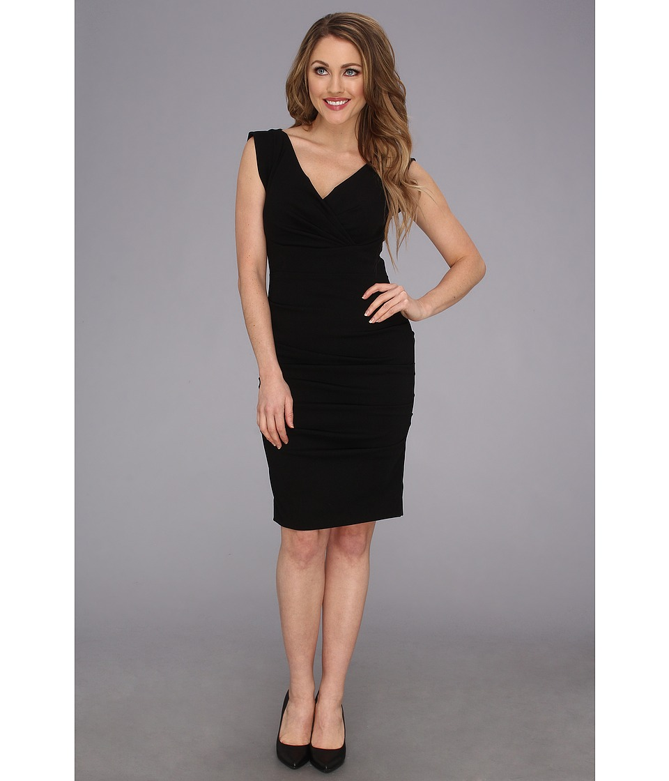 Nicole Miller - V-Neck Satin Crepe Dress (Black) Women's Dress