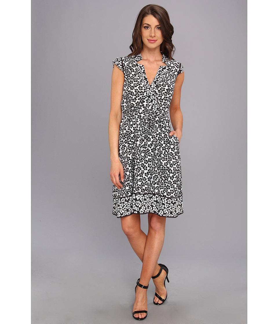 Adrianna Papell - Open Knit Floral Dress (Ivory/Black) Women's Dress