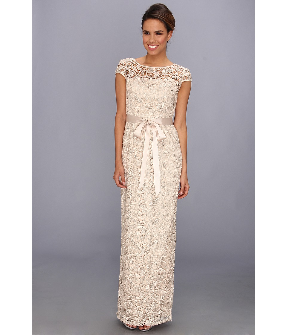 Adrianna Papell - Cap Sleeve Lace Gown (Champagne) Women's Dress