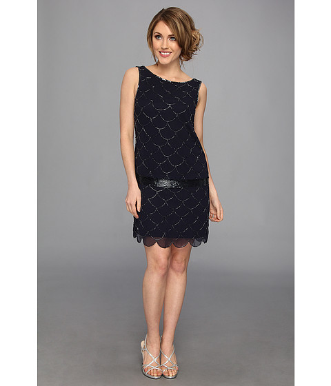 Adrianna Papell - Short Fish Scale Bead Dress (Navy) Women's Dress
