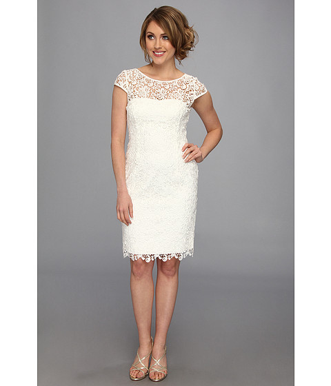 Adrianna Papell - Cap Sleeve Lace Sheath (White) Women's Dress