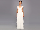 Adrianna Papell Long Irri Tiered Petal Dress (Ivory)