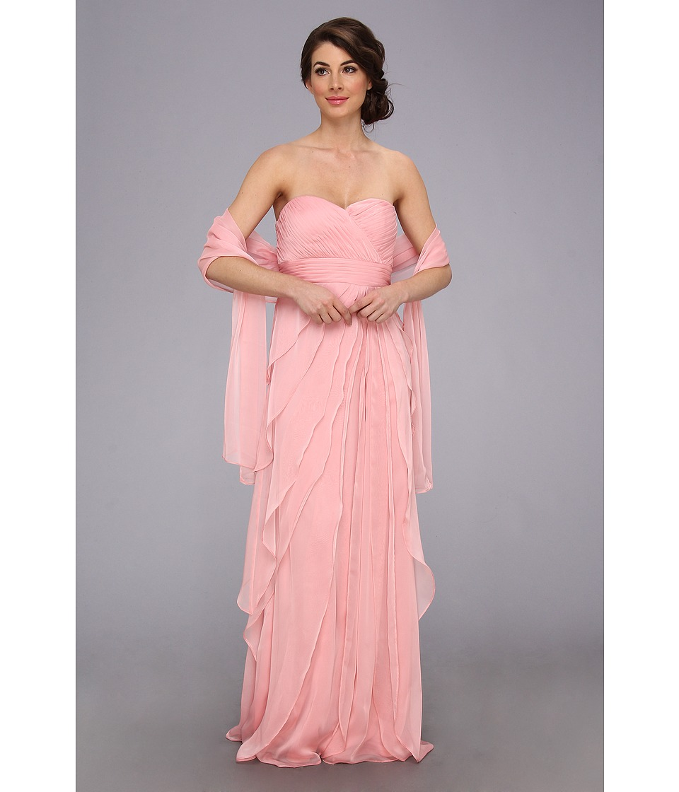 Adrianna Papell - Long Irri Chiffon Strapless Tiered (Bridesmaid) (Tea Rose) Women's Dress