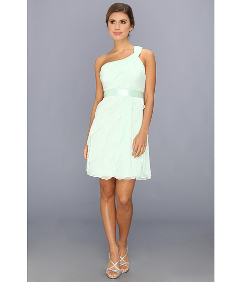 Adrianna Papell - One Shoulder Irri Chiffon Short Tiered (Bridesmaid) (Honeydew) Women