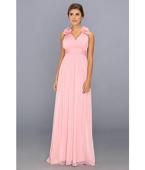 Adrianna Papell - Long Irri Chiffon w/ Rosette Shoulders (Bridesmaid) (Tea Rose) Women's Dress