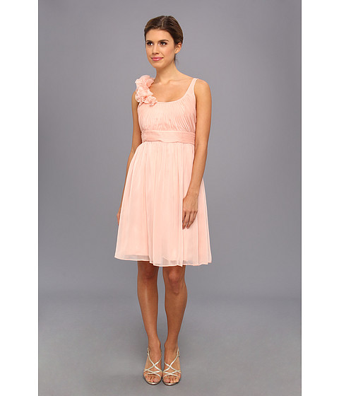 Adrianna Papell - Irri Chiffon Rosette Shoulder Short Dress (Bridesmaid) (Peach) Women
