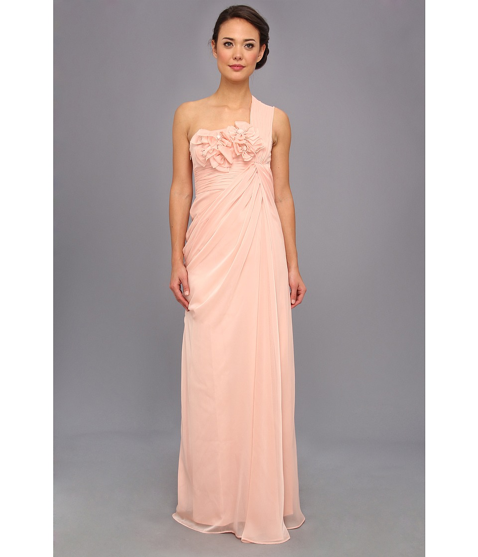 Adrianna Papell - Long Irri Chiffon Rosette One Shoulder (Bridesmaid) (Peach) Women's Dress