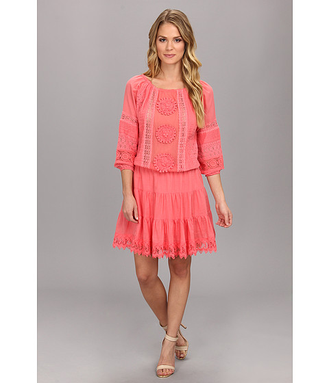 Nicole Miller - Elisa Crotchet Cotton Lace Dress (Terracotta) Women