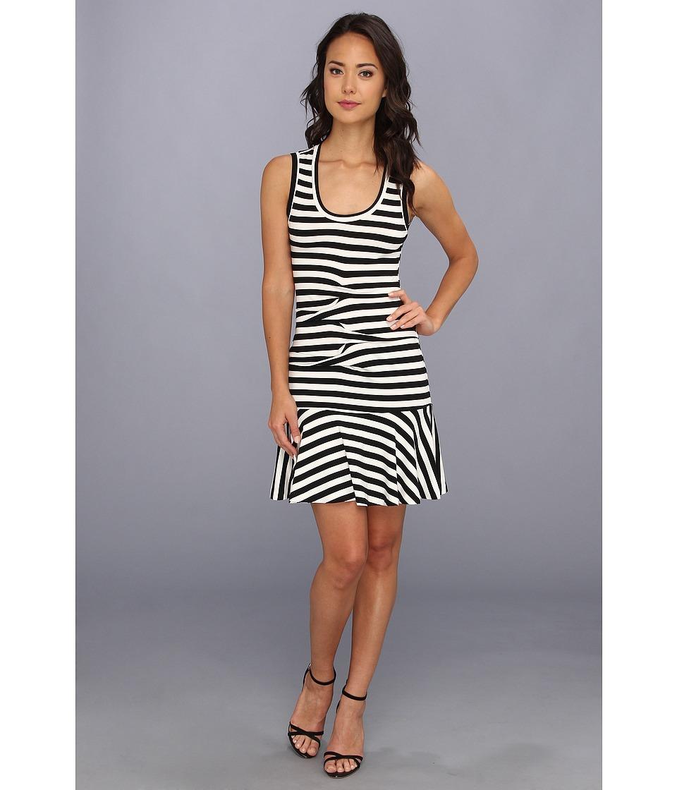 Nicole Miller Striped Jersey Dress Womens Dress (Black)