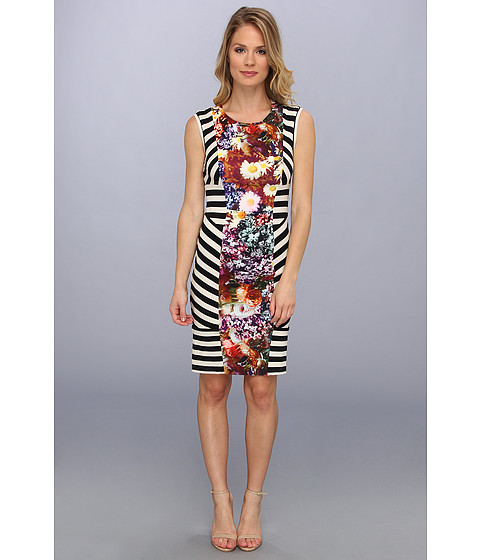 Nicole Miller - Flower Stripe Stretch Jersey Dress (Multi) Women's Dress