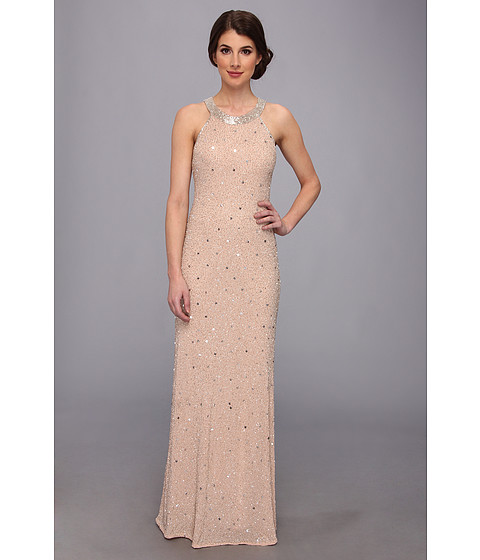 Adrianna Papell - Caviar Bead Sheer Back Gown (Taupe/Pink) Women