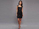 Adrianna Papell Sequin Embroidered Lace Envelope Back Sheath (Black)