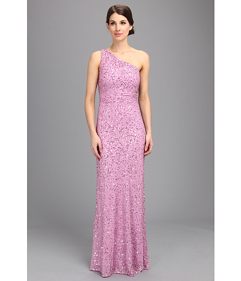 Adrianna Papell - Beaded One Shoulder Gown (Prom) (Iris) Women's Dress