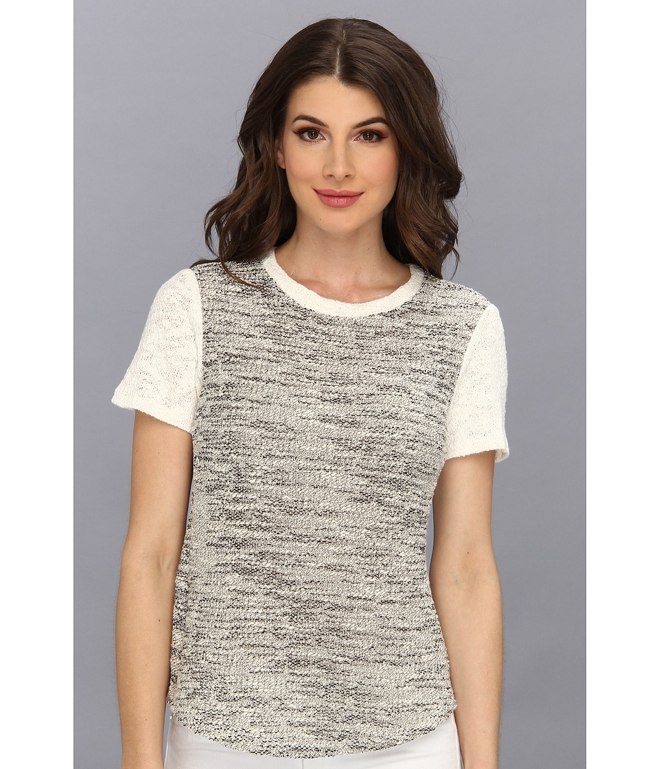 Rebecca Taylor - Short Sleeve Tweed Top (Black/Cream) Women