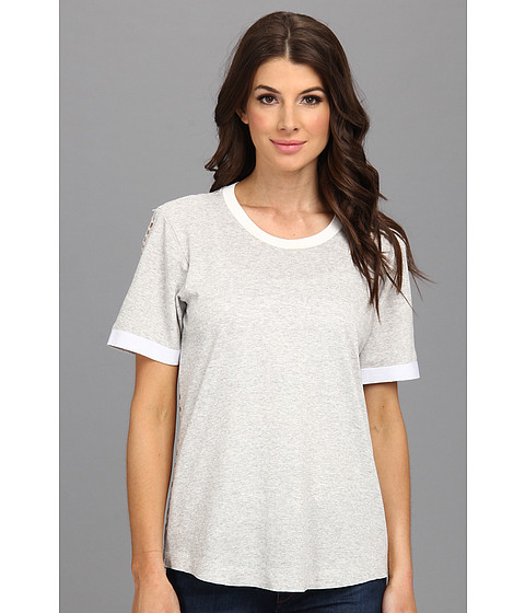 Rebecca Taylor - Short Sleeve Lasercut Tee (Heather Grey) Women