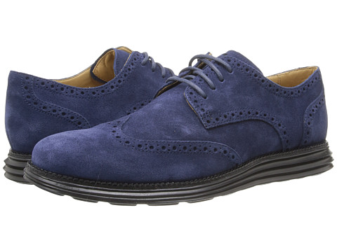 Cole Haan - LunarGrand Wing Tip (Blazer Blue/Black Suede) Men