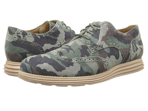 Cole Haan - LunarGrand Wing Tip (Forest Multi/Camo Suede) Men