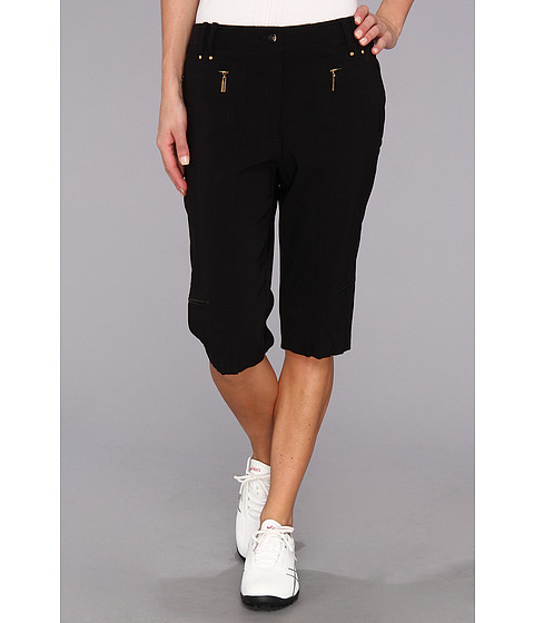 Jamie Sadock - Amanda 24 in. Knee Capri with Gold Zippers (Black With Gold) Women's Capri