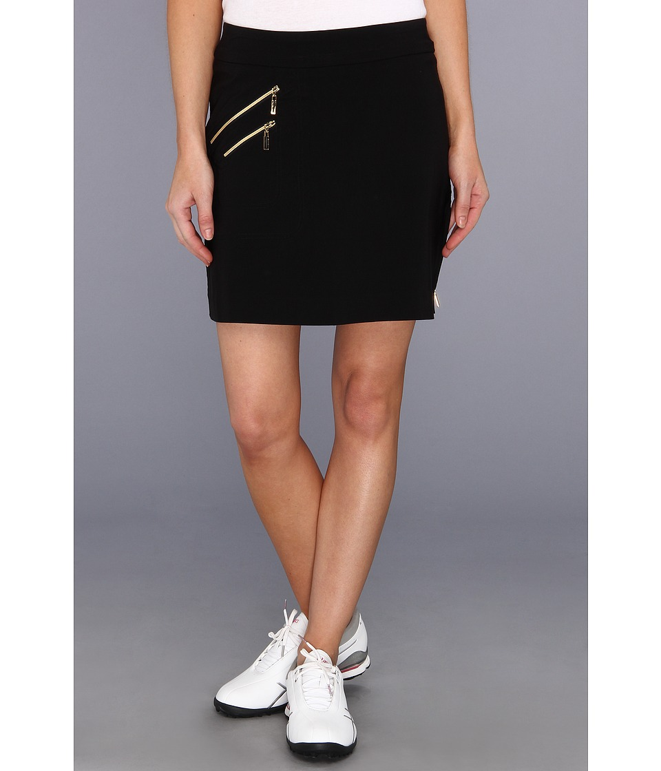 Jamie Sadock - Skinnylicious 18 in. Skort with Control Top Mesh Panel and Gold Zippers (Black With Gold) Women