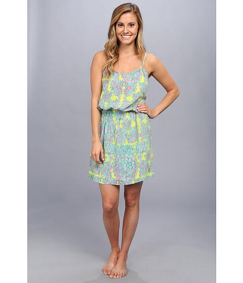 Josie - Glamour Floral Rayon Challis Skimmer (Green/Pink) Women